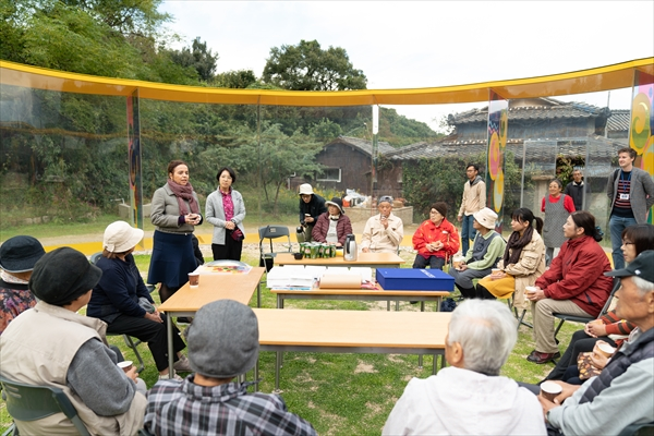 A commemorative ceremony and workshop with local residents was held to celebrate the unveiling of a new work at Inujima