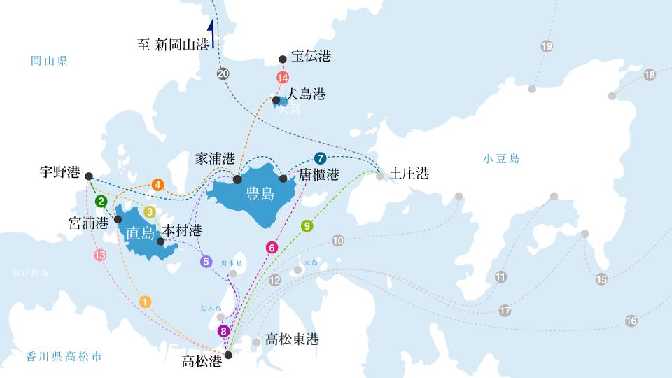 各港から島々へのアクセス